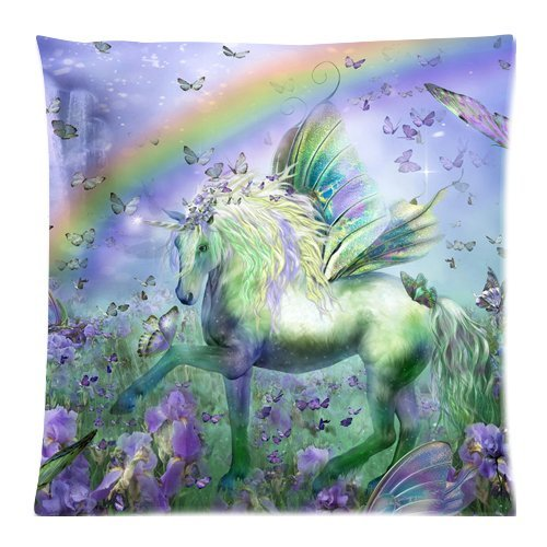 EnjoyU Unicornio de Las Mariposas Custom con Cremallera Fundas de Cojín Almohada Casos 18x 45,72cm (2Lados)