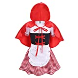 YiZYiF Toddler Baby Girls Little Red Riding Hood Fancy Dress Halloween Costume Lovely Plaid Dress with Hooded Cloak Red&White&Black 12-18 Months