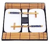 Exzact EX-SG Hermoso Estilo Oriental Set de Sushi de 10 Piezas - 2 x Platos de Sushi, 2 x tazones de inmersión, 2 x Bamboo Sushi Rolling Mats, 2 x Palillos de bambú Rests, 2 x Pares de Palillos