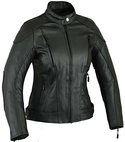 Impact Leder Motorrad Jacke Frauen Damen Schutz Mantel 10