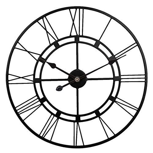 ZUJI Orologio da Parete Vintage, 60CM Orologio da Muro in Ferro Battuto Orologi da Parete Grande Decorativo per Camera Cucina Ufficio (Nero)