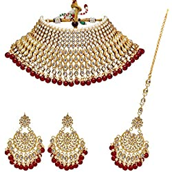Jaipur Mart Alloy Metal Gold Plated Kundan Necklace Set for Women/Girls (KN221MRN)