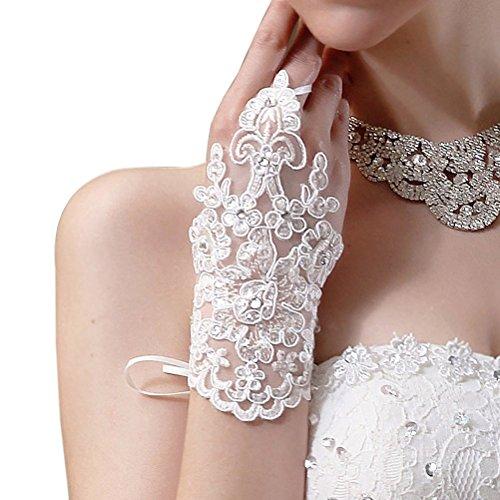 ROSENICE Decorated of the Bride Wedding Lace Gloves Fingerless Rhinestone Satin Wedding Party White