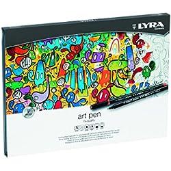 Lyra Hi-Quality Art Pen - Estuche metálico 20 rotuladores artísticos acuarelables de colores, efectos de luz y metálicos