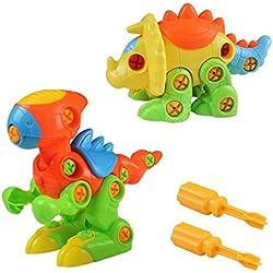 Puzzle Dinosaurios, Desmontar Dinosaurios Juguetes, Puzzle Dinosaurios Ingeniería, Construccion de Juguete Tirón Arrastrar para Los Niños de 3+ Años (2 Puzzle Dinosaurios)