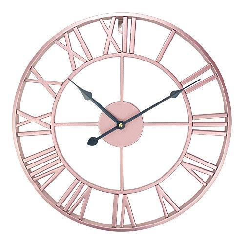 ufengke Orologio da Parete Ferro Vintage Oro Rosa Orologio da Muro al Quarzo Silenzioso Eleganti, Diametro 40 cm