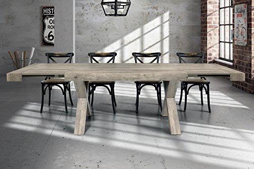 Tavolo Da Pranzo Moderno Di Design Allungabile Cm 90 X 180/230/280 Invecchiato Grigio Per Sala Da...