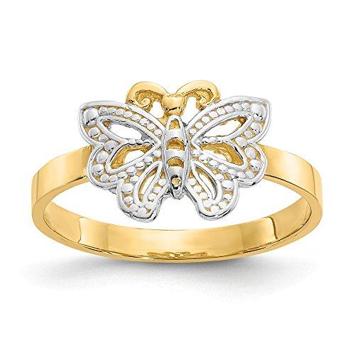 DIAMOND2DEAL INC Anillo de Oro Amarillo de 14 Quilates y Mariposa de rodio tamaño 6