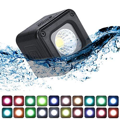 Pro Mini LED Video Light Waterproof W 20 filtri colorati per GoPro, fotocamere, tasca OSMO, azione OSMO, videoregistrazione DSLR Illuminazione creativa ultra brillante Ricaricabile