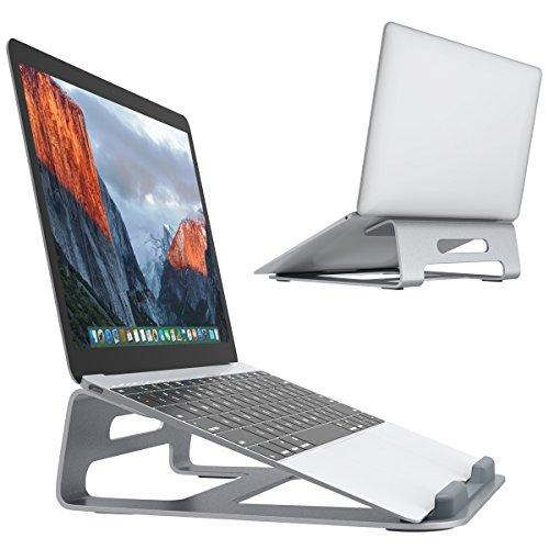 SLYPNOS Supporto per PC in Alluminio per Raffreddamento Passivo, con Gomme Antiscivolo nella parte frontale, Adatto a Notebook/Tablet/Cellulari da 11 a 15.4 pollici, Colore Argento