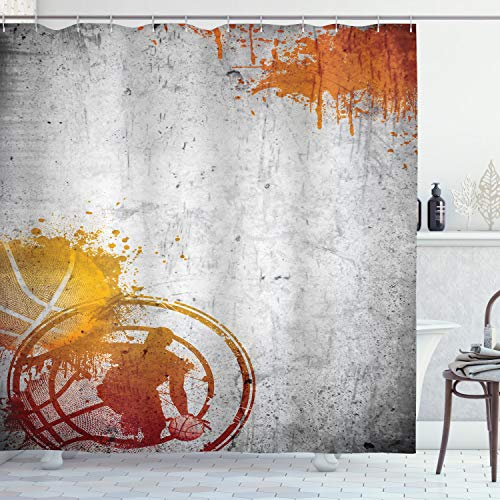 Sports Decor Shower Curtain Set by Ambesonne, Basketball Streetball and Paint Stains Image on Concrete Wall Rustic Decoration, Bathroom Accessories, 84 Inches Extralong, Charcoal Orange