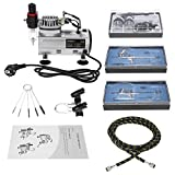 KKmoon 3 Kit Aerógrafo Compresor Profecional para Coloración Cerámica y Modelo/Tatuaje Temporal/Manicura, 3 Aerógrafo+Mini Compresor de Aire+Tubo de Aire Trenzado+Cepillo de Limpieza