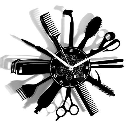 Instant Karma Clocks Orologio in Vinile da Parete Giri Idea Regalo Vintage Handmade Barber Shop Barbiere Parrucchiere Barba Capelli Salone Bellezza, Silenzioso