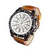 Gemini   Mall® uomini Business casual PU orologio al quarzo lusso orologi da polso, Brown, taglia unica