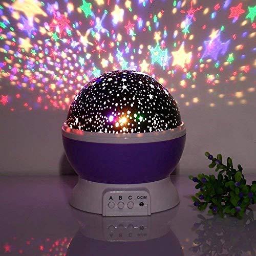 SHOPPOSTREET Star Moon Night Light Rotating LED Star Moon Night Projector lamp Light Dream Color Changing Bed Light Lamp (Multi Colour)