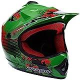 "Armor · AKC-49 ""Green"" (green) · Casco Moto-Cross · Enduro Scooter NINOS Off-Road Quad Racing motocicleta · DOT certificado · Click-n-Secure Clip · Bolsa de transporte · XS (51-52cm)"