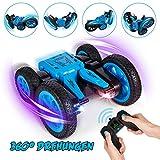 Crenova Ferngesteuerte Autos für Kinder 1:24 4WD Allrad Stunt Spielzeugauto,12km/h Doppelseitiges Fahren 360° Drehung, 2,4GHz Wieder aufladbares ferngesteuertesAuto mit bunten LED-Scheinwerfern