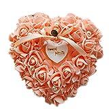 Zentto anello nuziale cuscino cuscino rosa cuore anello Favors box wedding Ring Pillow con raso flora 24x 22cm (1pezzo), Orange, 24 x 22 cm