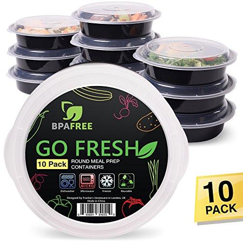 Contenedores Redondos de 1 compartimientos para Comida [10 envases], utilizar como Bento Box sin BPA / aptos para Microondas, Frigorífico, Lavavajillas / Contenedores Plástico / Trabajo, Gym, Escuela