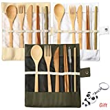 nuoshen 3 Set Bamboo Cutlery Set, Bamboo Travel Utensils Include Knife Fork Spoon Chopsticks Straws