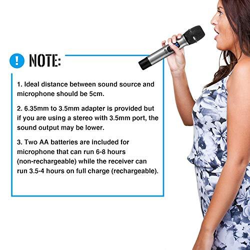 """TONOR Microphone sans Fil 25 Canaux UHF, avec Mini Récepteur Portable Sortie 1/4"""", pour Réunion d'Affaire/Maison/Karaoké/Église, Argent 12"""