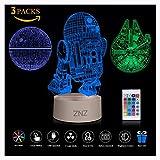 Lampada da notte a LED 3D - ZNZ 16 colori Lampada da tavolo a LED dimmerabile con telecomando per bambini, luci 3D Illusioni ottiche Lampada da tavolo per arredamento (Star Wars)