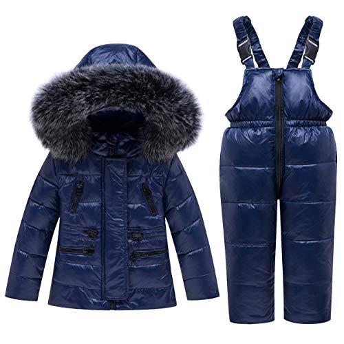 Tuta da Sci Bambino Piumino con Cappuccio + Pantaloni da Sci, 2 Pezzi Tuta da Neve Snowsuit Caldo Invernale Salopette Giacca Cappotto, Blu 2-3 Anni