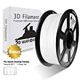 PLA Filament White, 3D Hero PLA Filament 1.75mm,PLA 3D Printer Filament, Dimensional Accuracy +/- 0.02 mm, 2.2 LBS(1KG),1.75mm Filament, Bonus with 5M PCL Nozzle Cleaning Filament