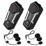 SUAOKI Auriculares Casco Intercomunicador Moto, Bluetooth 3.0, gama de 1200m, IPX6, Admite hasta 3 comunicadores de llamada grupal, Motocicleta, Ski ATV ( Impermeable IPX6, 2 Auriculares incluidas)