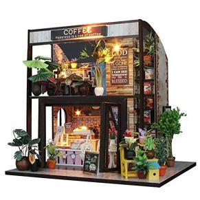 KQKLQQ Tiempo Serie Cafe Mano montado Villa Modelo de Juguete, Miniatura DIY Kit de la casa habitación Creativo con Muebles for el Regalo de San Valentín romántico