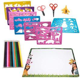 Moji Toys Set di Stencil per Disegno – Confezione da 15 Pezzi – Grande assortimento di Forme, Carta, pastelli ECC. – Perfetto per Tutti i Bambini – Educativo e Divertente – Regalo di Natale Ideale