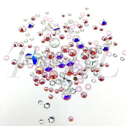Cristales de Swarovski auténticos, piedras natalicias de abril de varios colores y formas, 155 unidades