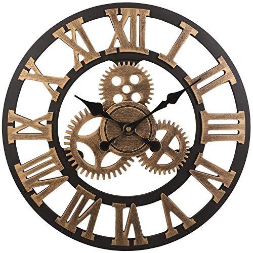 Flower-Xia Vintage Mute Roman 3D Orologio da Parete con Ingranaggi, Retro Orologio da Parete con...