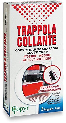 Copyr 14856 Trappola Collante per Scarafaggi, 5 Trappole, Blatte Rossi/Neri