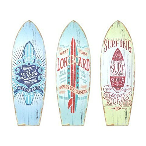 CAPRILO Set de 3 Adornos Pared Decorativos de Madera Tablas Surf. Cuadros y Apliques. Decoración Hogar. Regalos Originales.20 x 60 x 0.8 cm.