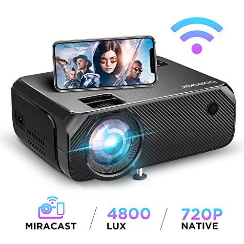 BOMAKER WiFi Beamer 4800 Lumen Wireless Projektor Unterstützt 1080P Full HD Native 720p Max. 250\'\' Display Mini LED Beamer kompatibel mit iPhone/Android Smart Phone/iPad/Mac/Laptop/PC