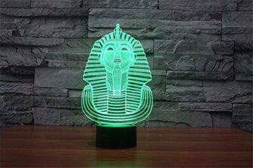 3D Illusion Egipto esfinge Faraon Lámpara luces de la noche ajustable 7 colores LED Creative Interruptor táctil estéreo visual atmósfera mesa regalo para Navidad 6
