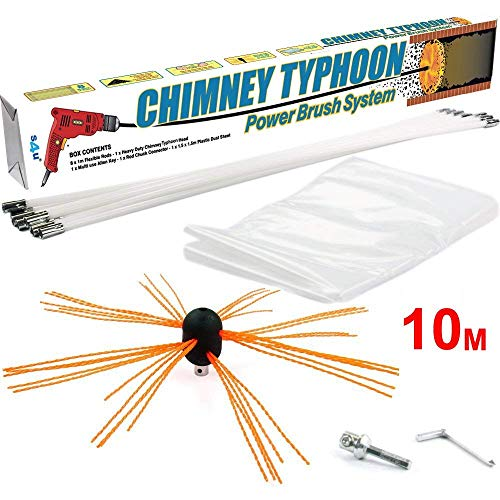 This wood burning accessory is designed to remove creosote and other deposits from chimneys and flues. It comes with cleaning powerhead, drill adapter, Allen key, and plastic dust sheet. Simply attach the powerhead to the drill, insert into the flue, and start scrubbing bottom-up. The strong bristles on the head will remove any deposits like there were not even there!