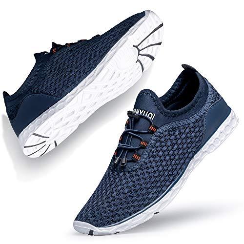 Ritiriko Herren Frauen Water Shoes Aquaschuhe Barfussschuhe Wasserschuhe Surfschuhe Neopren Blau Weiss EU 39