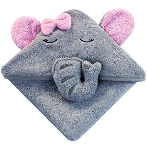 Baby Kapuzenhandtuch mit Elefant (Grau/Rosa) - 75x75 cm - Frottee Badetuch Für Neugeborene, Säugling, Kleinkind Und Kinder - Babyhandtuch Mit Kapuze - Baumwolle