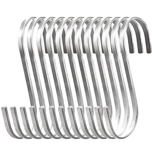 Eizurs Piezas de 12 Ganchos para Colgar en Forma de S, 304 Ganchos para Uso General de Acero Inoxidable para Utensilios de Utensilios de Cocina para ollas en Rack