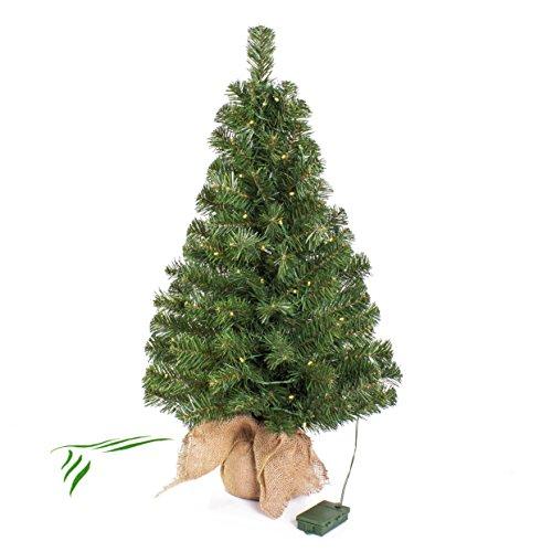 artplants.de Mini Albero di Natale WARSCHAU con LED, Sacco di Iuta, 90cm, Ø 50cm - Albero con luci/Abete di Natale