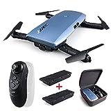 REDPAWZ H47 Elfie Plus Drohne mit 720P HD Kamera WiFi FPV Faltbare Selfie Drohne mit Gravity Sensor Mini Drone Höhenhaltemodus - Blau+2 Batterie