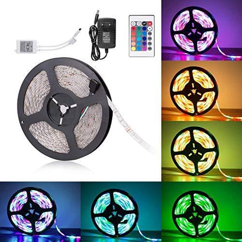 ADORIC Led Striscia 5M impermeabile con telecomando 3528 RGB striscia dei 300 LED multicolore...