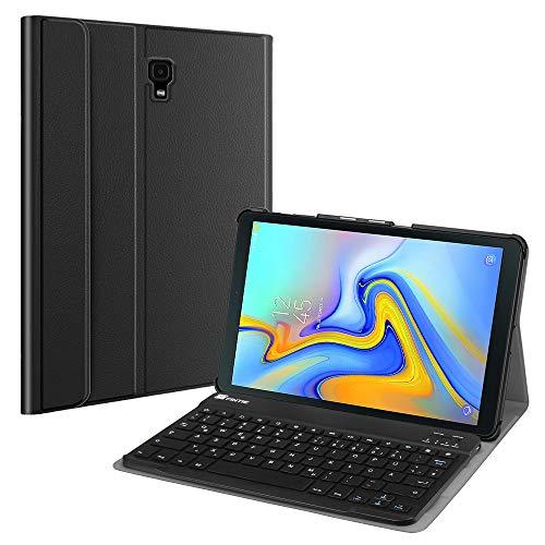 Fintie Bluetooth Tastatur Hülle für Samsung Galaxy Tab A 10.5 SM-T590/T595 Tablet-PC - Ultradünn leicht Schutzhülle mit magnetisch Abnehmbarer drahtloser Deutscher Bluetooth Tastatur, Schwarz