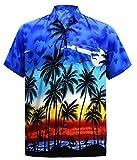 LA LEELA | Funky Chemise Hawaïenne | Hommes | XS - 7XL | Manche-Courte | Poche-Avant | Hawaiian-Imprimer | Été Plage Palmiers | Couleurs variées 3XL - Tour Poitrine (cms) : 152-162 Bleu_W140