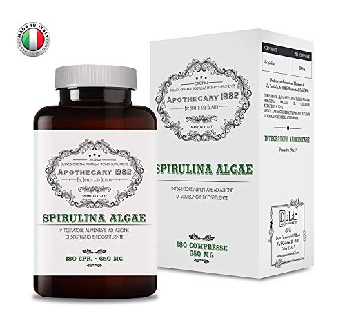 Apothecary 1982 - Alga Spirulina - 180 compresse - Tonificante e antinfiammatorio - 500 mg - 100% Made in Italy - Notificato al Ministero della Salute Italiano