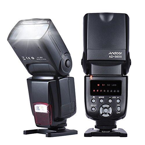 Flash Andoer Speedlite Flash AD-560ⅡUniversal para Canon Nikon Sony Olympus Panasonic Pentax Fujifilm Sigma Minolta Leica y Otros SLR Digital SLR Digital SLR Cámaras y cámaras digitales