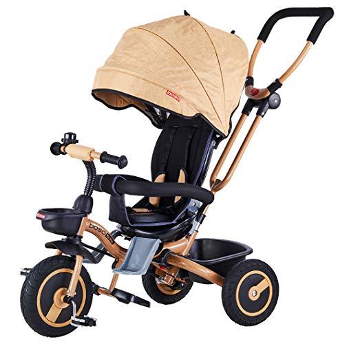 Mondial Toys Triciclo Passeggino Pieghevole 4 in 1 con SEGGIOLINO Reversibile MANIGLIONE...