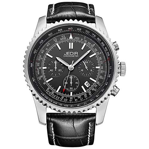 JEDIR Orologio da uomo cronografo sportivo da polso al quarzo quadrante analogico bianco con cinturino in pelle marrone
